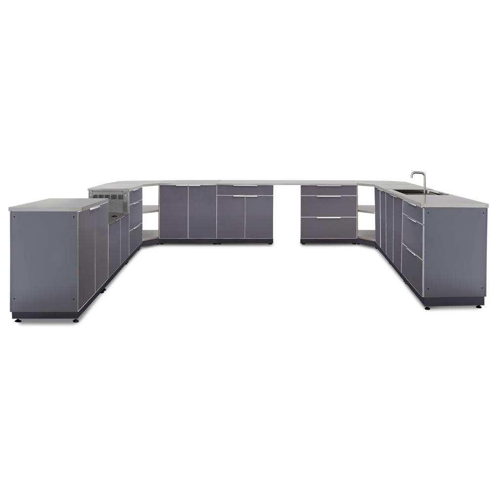 Slate Gray 18-Piece 441 in. W x 36.5 in. H x