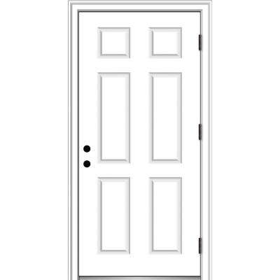32 in. x 80 in. Severe Weather Left-Hand Outswing 6-Panel Primed Fiberglass Smooth Prehung Front Door