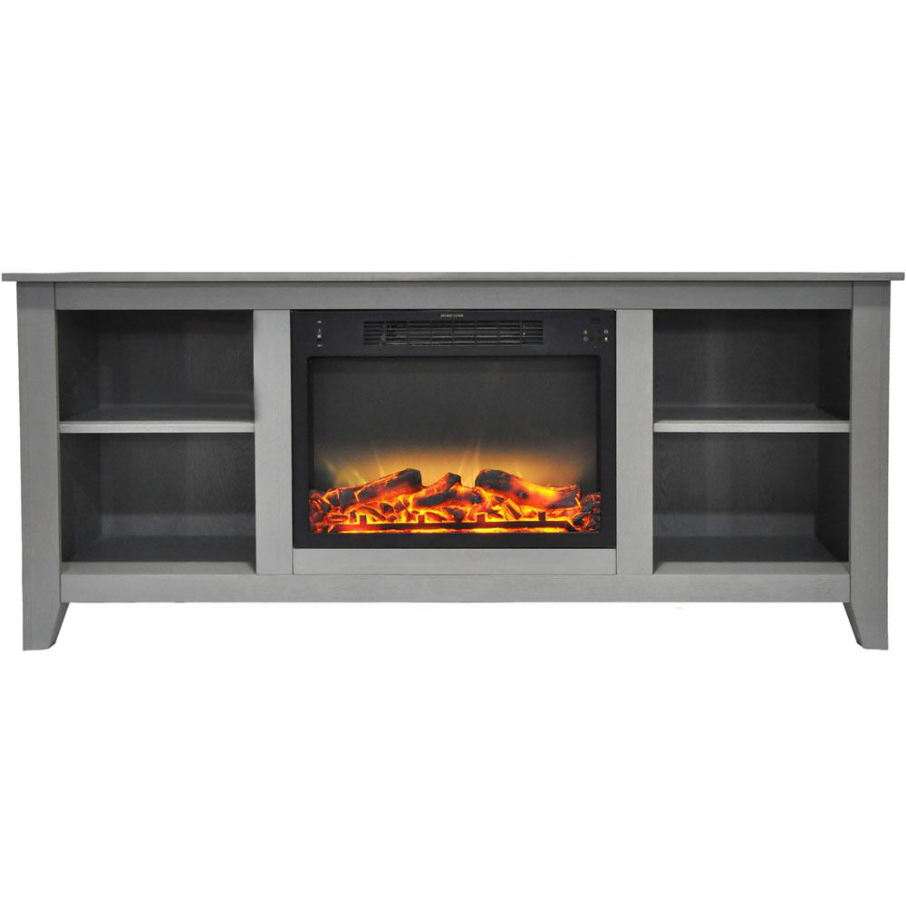 Amplify your entertainment space with the warm aura of the Santa Monica electric fireplace. Its slim