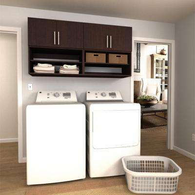 Horizon 60 in. W Mocha Open Shelves Laundry Cabinet Kit