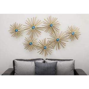 59 In X 35 In Modern Iron And Turquoise Resin Spiked Floral Metal Wall Decor