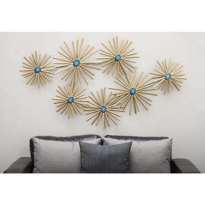 59 in. x 35 in. Modern Iron and Turquoise Resin Spiked Floral Metal Wall Decor