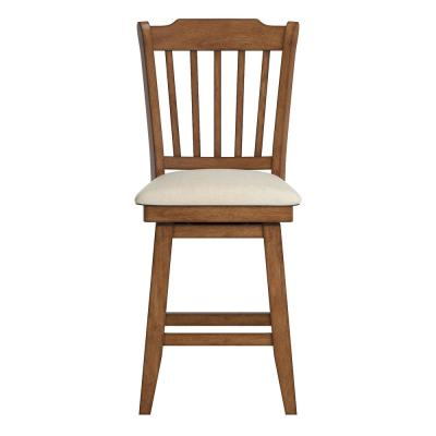 24 in. H Oak Spindle Back Swivel Chair with Beige Linen Seat