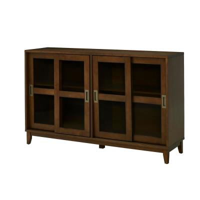 Canonbury Sable Brown Wood Buffet Table with Glass Doors (55.30 in. W. x 34 in. H)