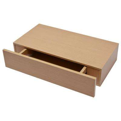 Shelf with Drawer 19 in. x 9.875 in. Floating Oak Finish Modern Decorative Shelf