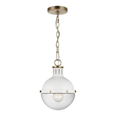 Highland 1-Light Matte White Pendant with Clear Seeded Glass Shade