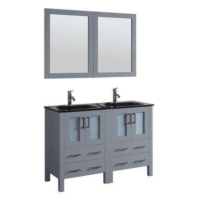 48 in. W Double Bath Vanity with Tempered Glass Vanity Top in Black with Black Basin and Mirror