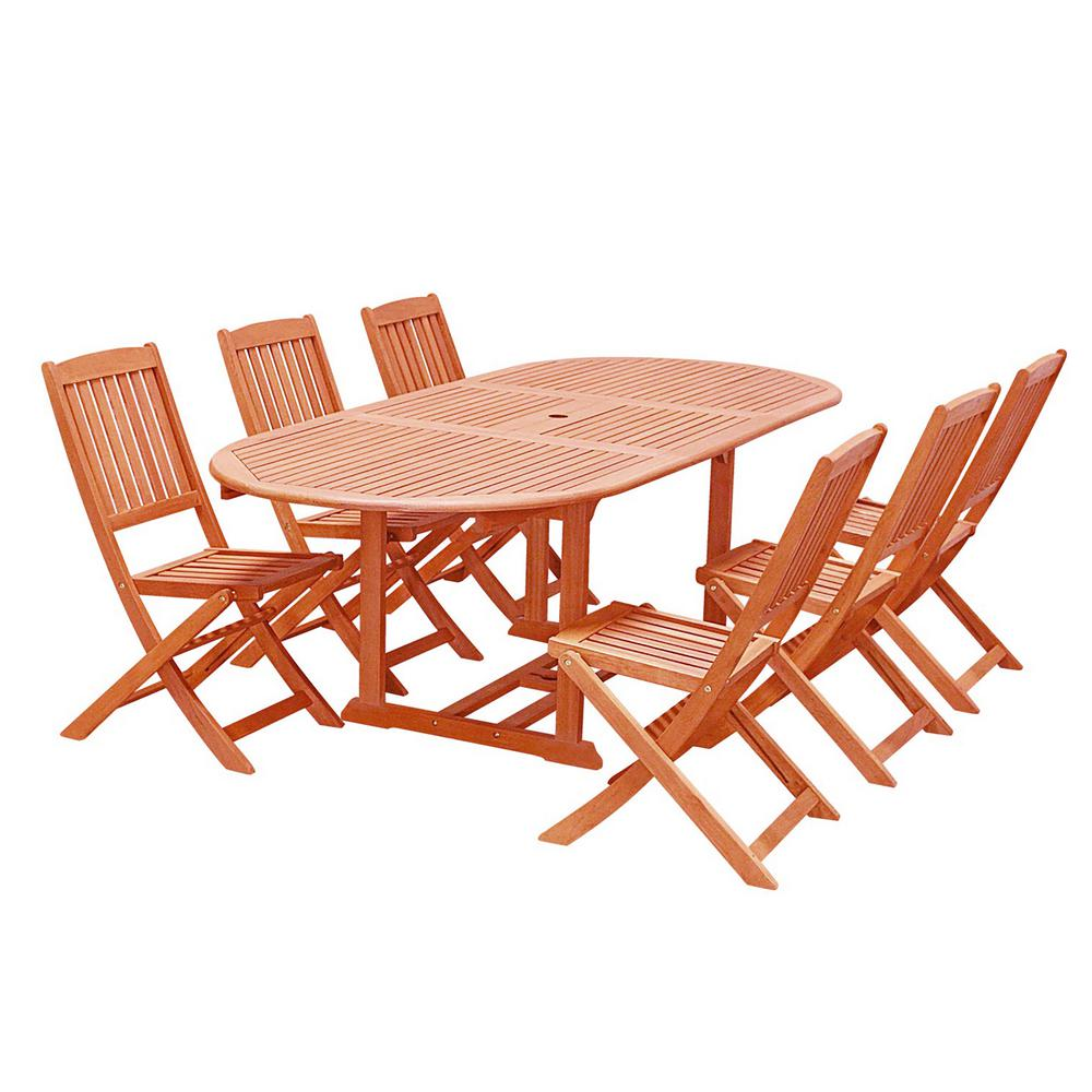 Tremendous Vifah Malibu Wood 7 Piece Outdoor Dining Set With Extention Table And Folding Chairs Machost Co Dining Chair Design Ideas Machostcouk