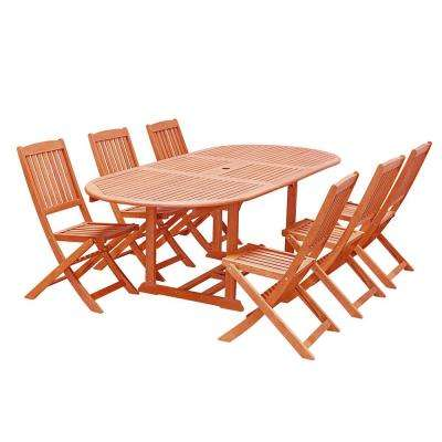 Malibu Wood 7-Piece Outdoor Dining Set with Extention Table and Folding Chairs