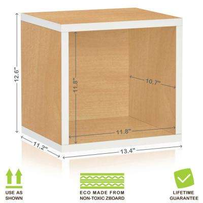 Connect System 13.4 in. x 12.6 in. zBoard Stackable Open Storage 1-Cube Organizer Unit in Natural/White Grain