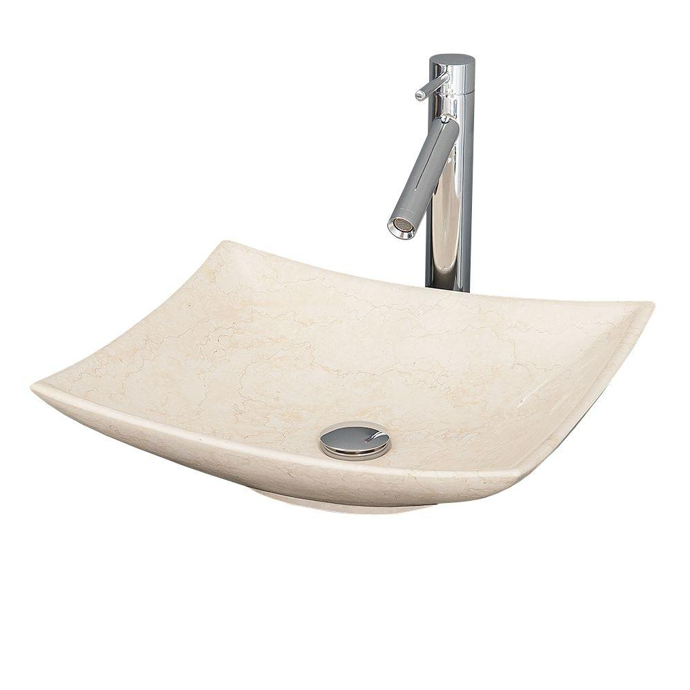 Arista Vessel Vanity Sink in Ivory Marble