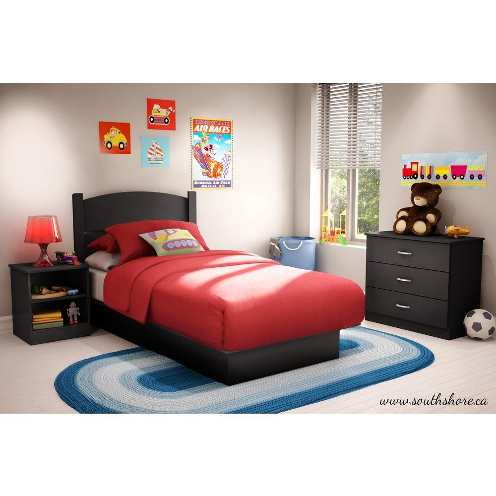 South Shore Libra 3Piece Pure Black Twin Kids Bedroom Set3070223