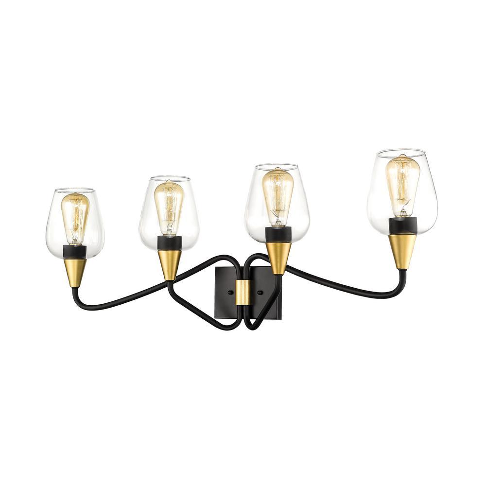 34 in. Norwalk 4-Light Wide Matte Black/Gold Bathroom Vanity Light