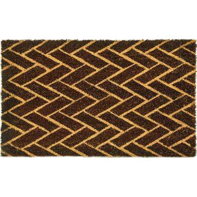 Vale Houndstooth Black/Ivory 18 in. x 30 in. Door Mat