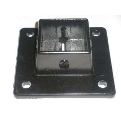 5.75 in. x 5.75 in. x 4 in. Black Aluminum Fence Base Flange