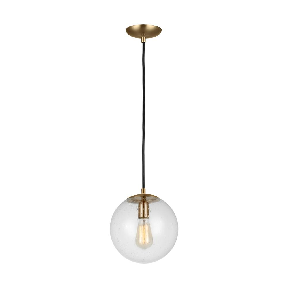 Sea Gull Lighting Leo Hanging Globe 10 in. 1-Light Satin Bronze Pendant with Clear Seeded Glass Shade