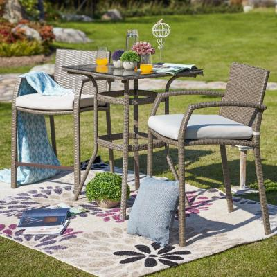 3-Piece Wicker Outdoor Bar Height Bistro Set with Off-White Cushions