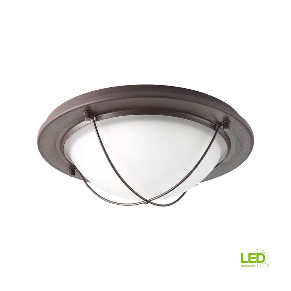 11 in. Portal Collection 1-Light Antique Bronze Integrated LED Flushmount