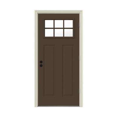 30 in. x 80 in. 6 Lite Craftsman Dark Chocolate Painted Steel Prehung Left-Hand Outswing Front Door w/Brickmould