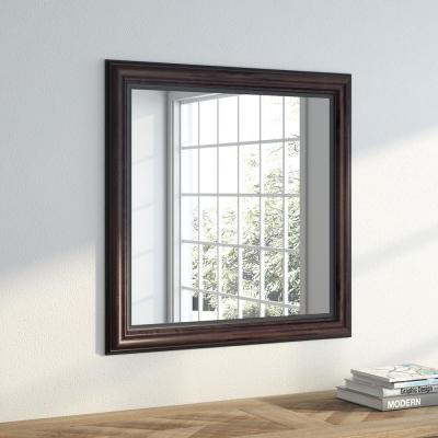 28.5 in. x 28.5 in. American Walnut Square Vanity Wall Mirror