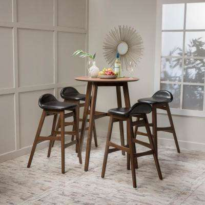 3-Piece Natural Oak Wood and Light Gray Fabric Counter Height Dining Set