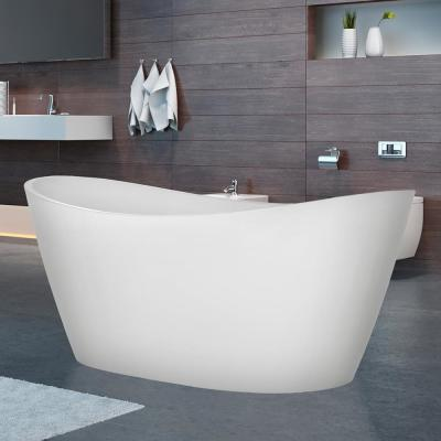 59 in Acrylic Flatbottom Freestanding Bathtub with 7-Color Changing LED Lights in White