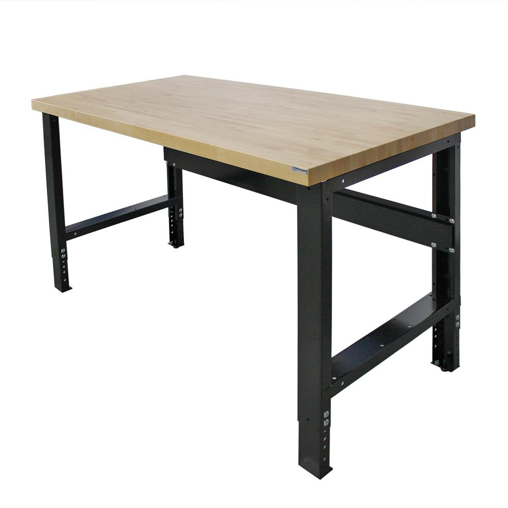 Borroughs 30 in. x 72 in. Heavy-Duty Adjustable Height Workbench with Solid Hardwood Top