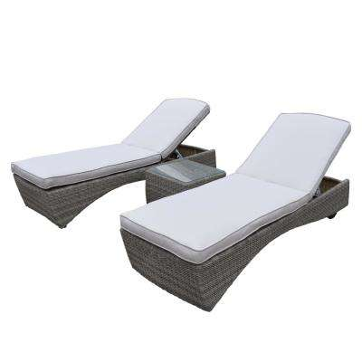 Borneo 3-Piece Wicker Patio Conversation Set with Oatmeal Cushions