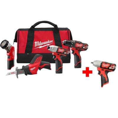M12 12-Volt Lithium-Ion Cordless Combo Tool Kit (4-Tool) with Free M12 3/8 in. Impact Wrench