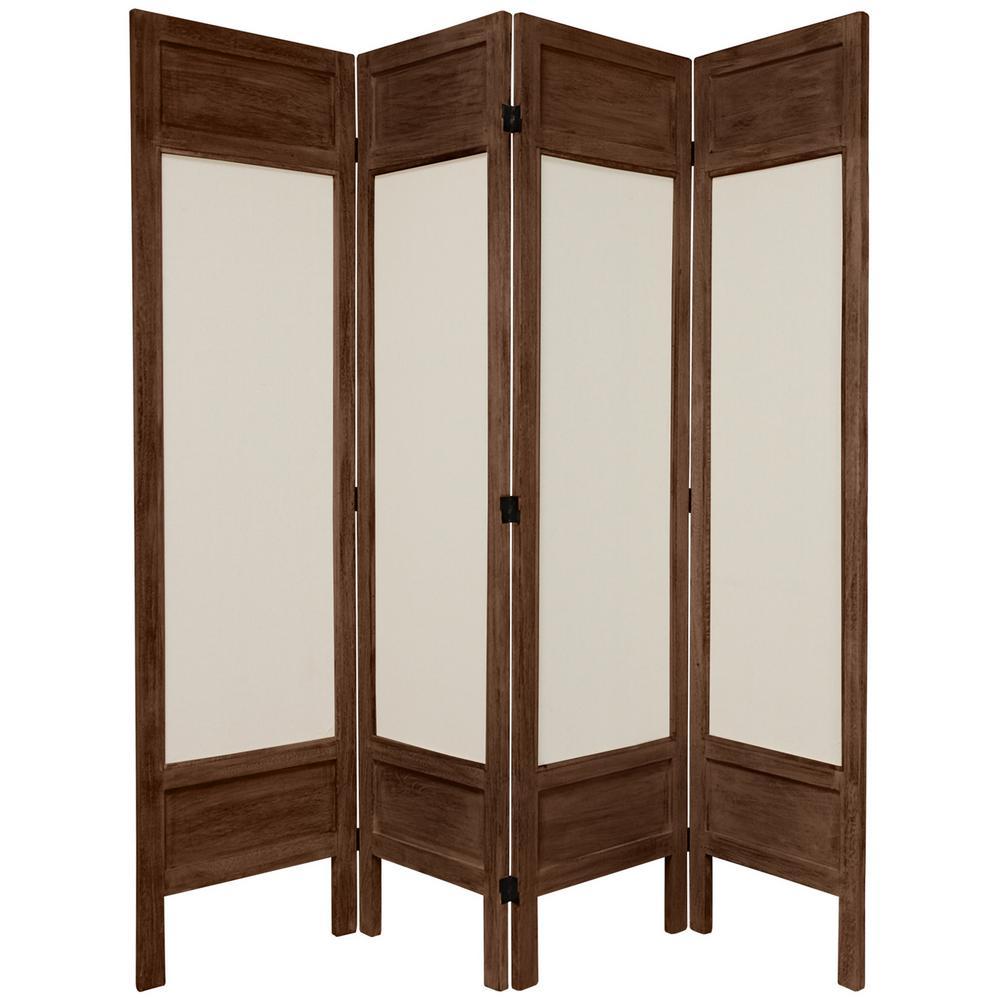 Oriental 6 ft. Burnt Brown Solid Muslin 3-Panel Room Divider