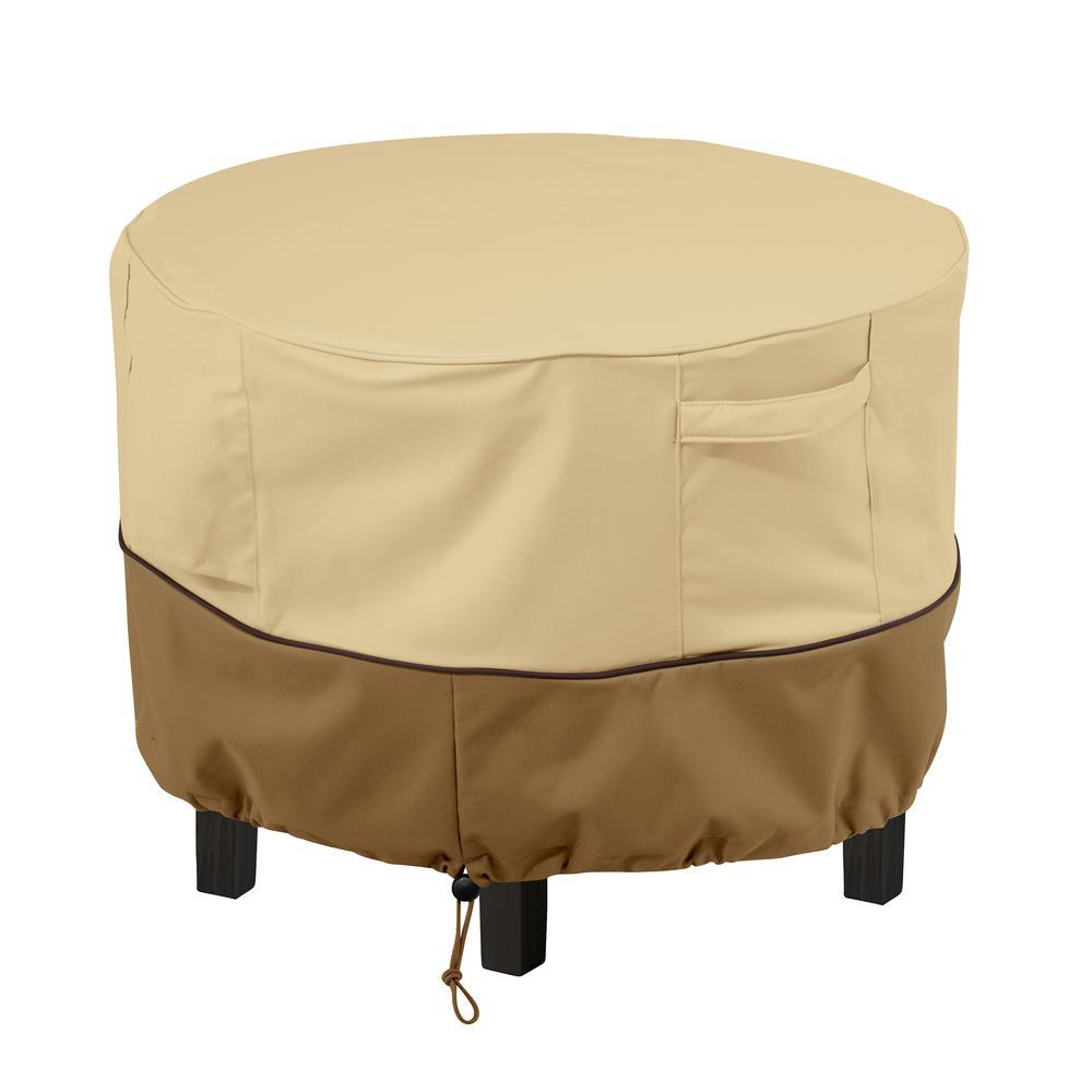 Veranda round patio ottoman side table cover