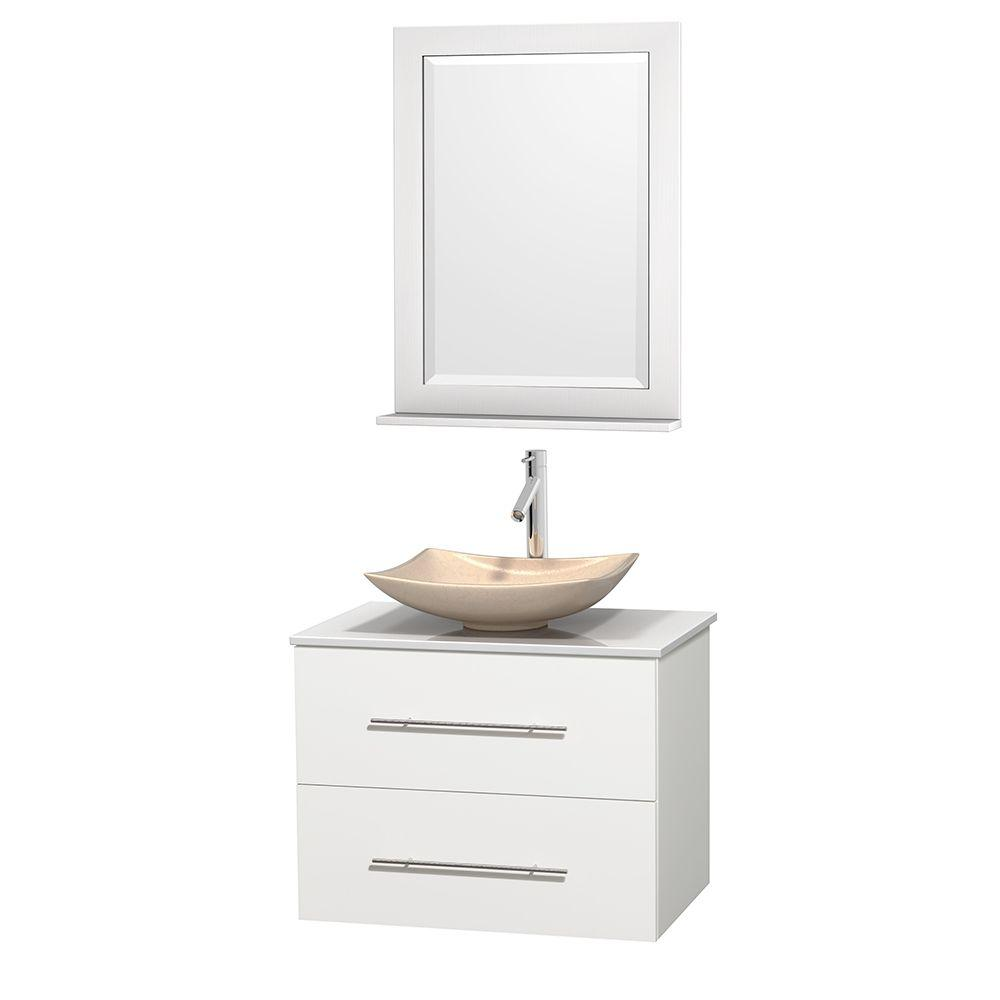 Wyndham Collection Centra 30 in. Vanity in White with Solid-Surface Vanity Top in White, Ivory Marble Sink and 24 in. Mirror