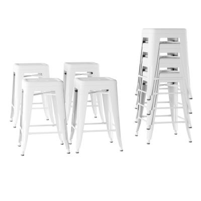 24 in. Stackable Backless White Metal Bar Stool (Set of 4)