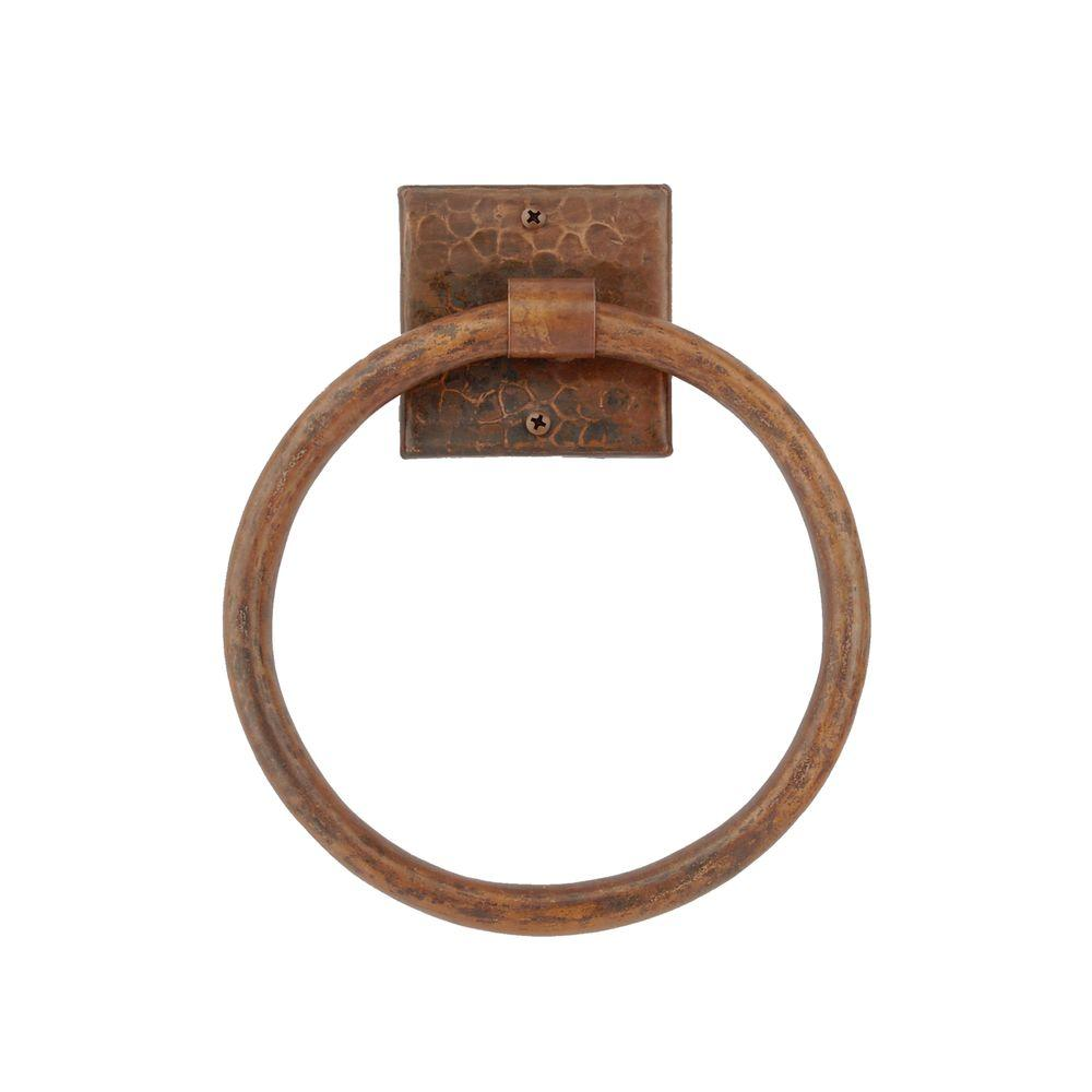 Hand Hammered Copper Full Size Bath Towel Ring in Oil Rubbed