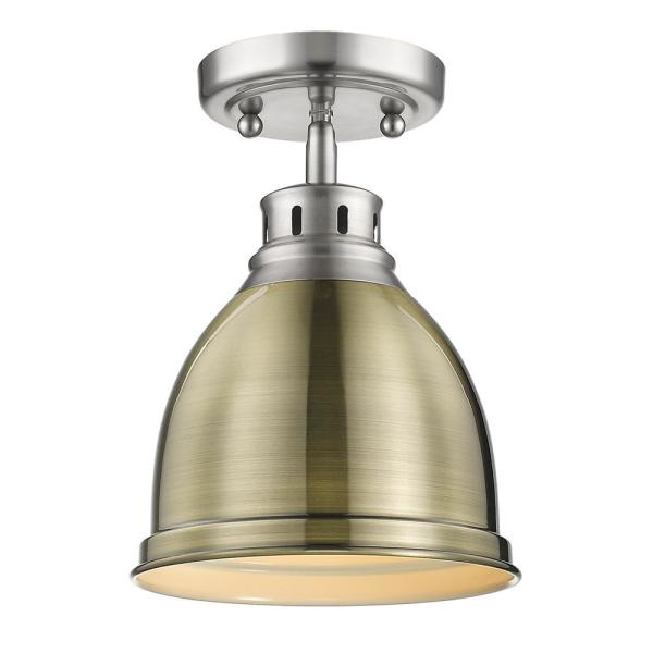 Duncan 9 in. 1-Light Pewter with Aged Brass Shade Flush Mount