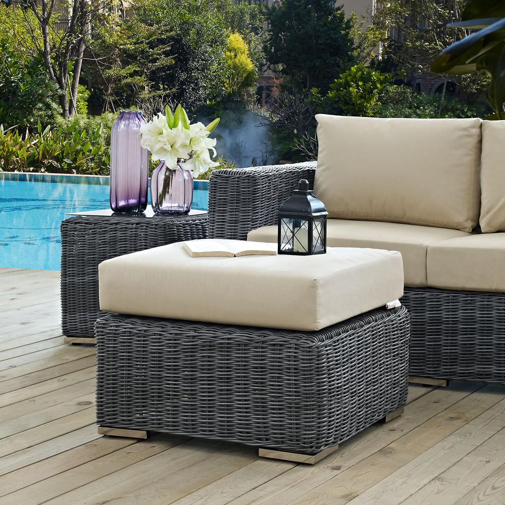 Summon Wicker Outdoor Patio Ottoman with Sunbrella Canvas Antique Beige Cushion