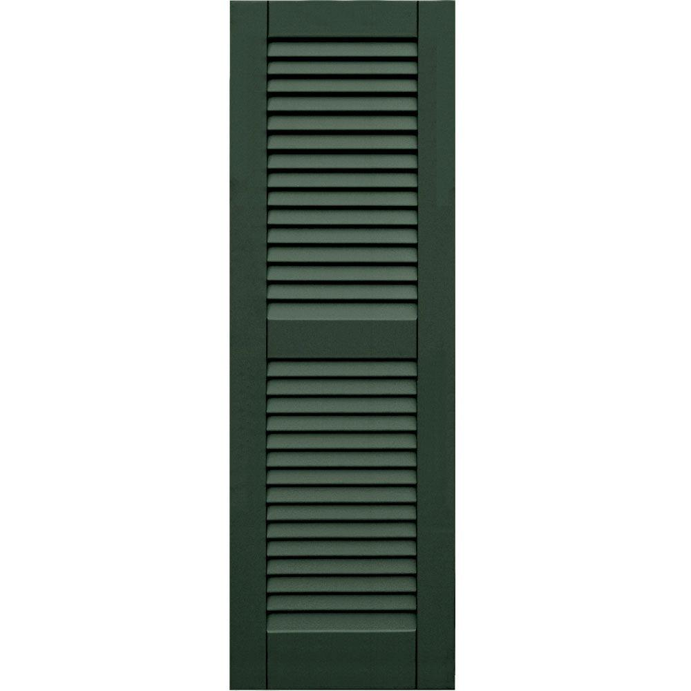 Winworks Wood Composite 15 in. x 46 in. Louvered Shutters Pair #656 Rookwood Dark Green