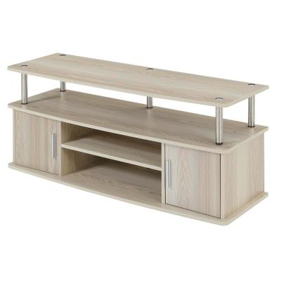 Designs2Go 47 in. Ice White Particle Board TV Stand Fits TVs Up to 50 in. with Storage Doors