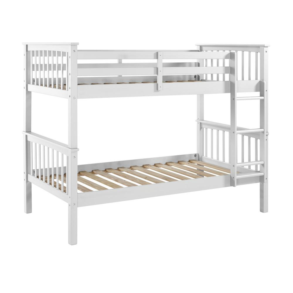 Walker Edison Twin Over Twin Solid Wood Mission Design Bunk Bed White