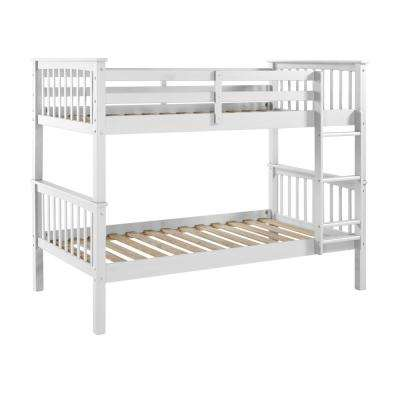 White Twin Over Twin Solid Wood Mission Design Bunk Bed