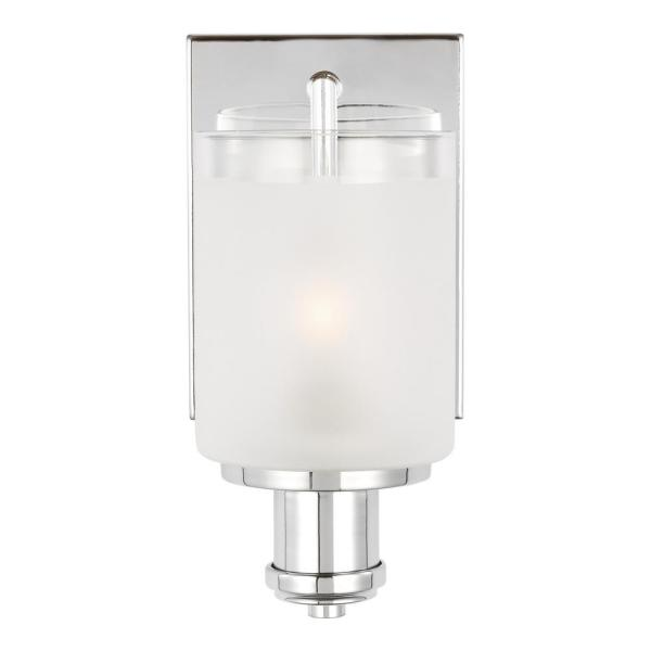 Norwood 5 in. 1-Light Chrome Vanity Light with Clear Highlighted Satin Etched Glass Shades