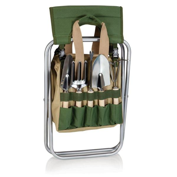 Picnic Time-Olive Green and Tan Gardener Folding Seat with Detachable Polyester Storage Tote