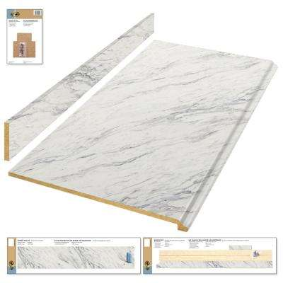 8 ft. Laminate Countertop Kit in Calcutta Marble with Premium Textured Gloss Finish and Valencia Edge