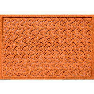 Orange 24 in. x 36 in. Dog Bone Repeat Polypropylene Pet Mat
