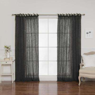 84 in. L Cotton Gauze Curtains in Dark Grey (2-Pack)