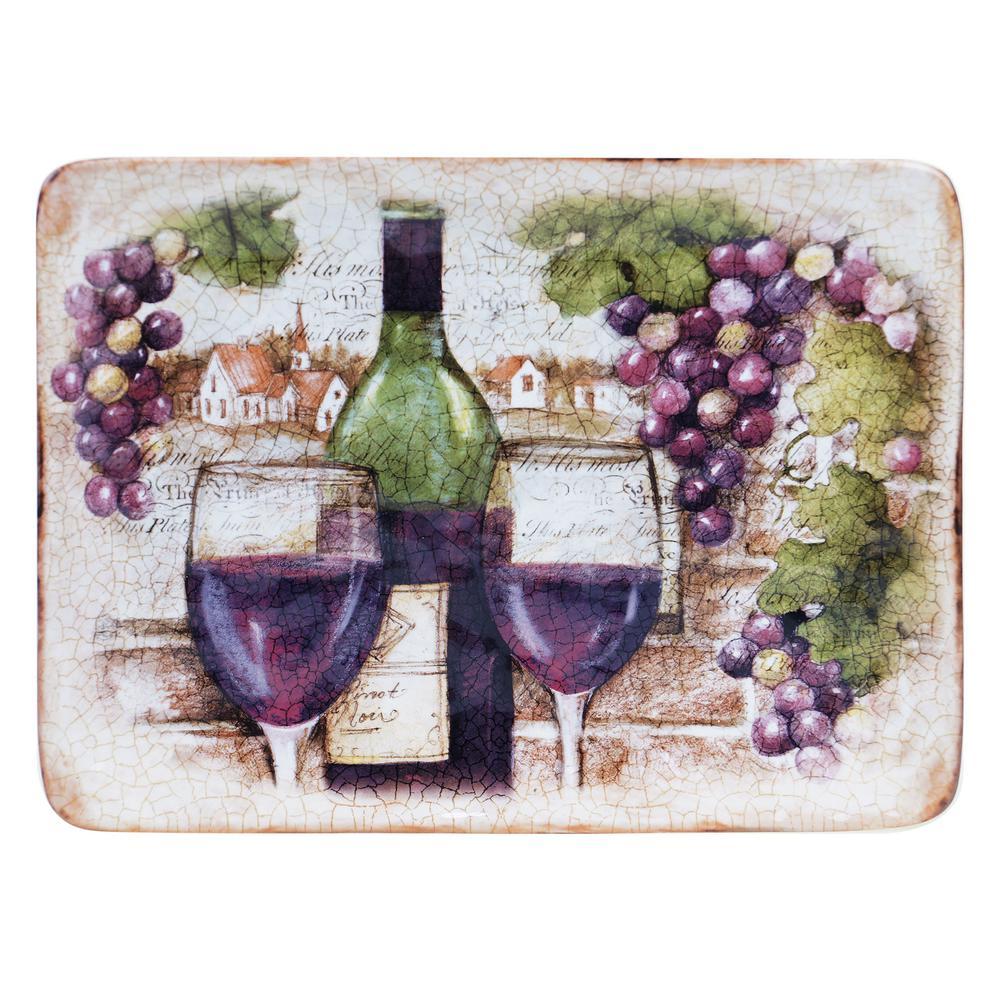 Certified International Sanctuary Wine Rectangular Platter 25383