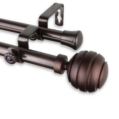 120 in. - 170 in. Telescoping Double Curtain Rod Kit in Cocoa with Poise Finial