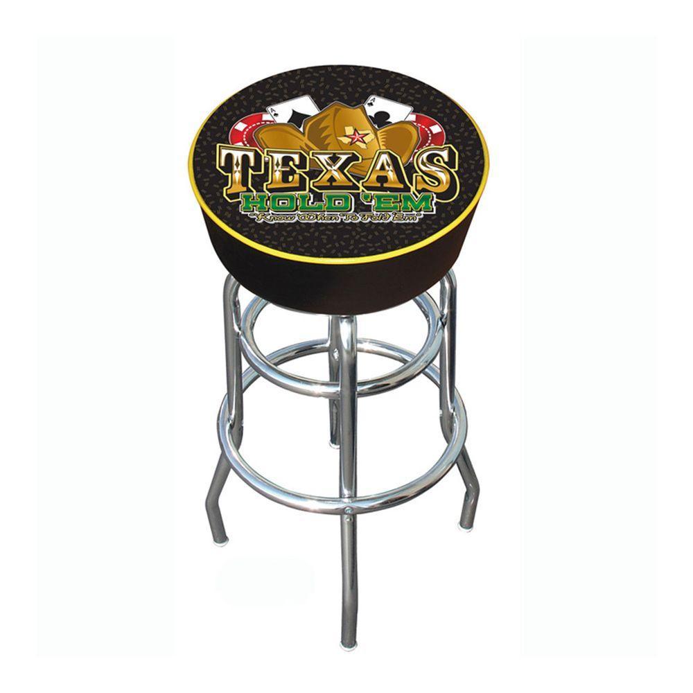 Texas Hold em Logo 31 in. Chrome Swivel Cushioned Bar Stool