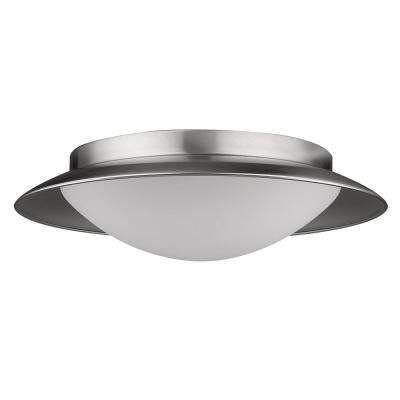 Aurora 75-Watt Equivalence Satin Nickel Integrated LED Flush Mount with Pewter Interior Shade