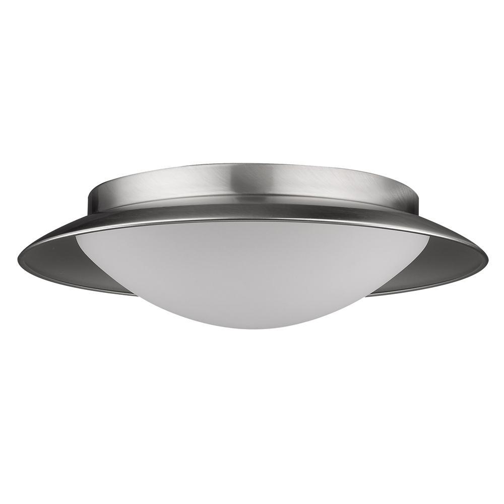 Aurora 75-Watt Equivalence Satin Nickel Integrated LED Flush Mount with Pewter Interior Shade